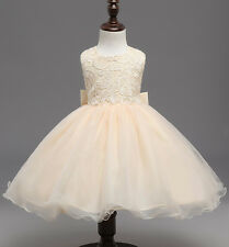 Girl Princess Sequins Party Wedding Bridesmaid Tulle Flower Kids Gown Tutu Dress
