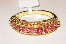 GENUINE FANCY PINK TOURMALINE STACK RING 18K YELLOW GOLD OVER STERLING SILVER