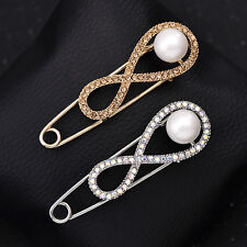 Large Simply Infinity Forever Pear Safety Pin Brooch For Women Silver Tone Pins