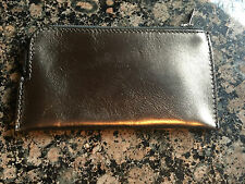 $710 Rick Owens Long Rose Gold Metallic Leather Zip Wallet Coin Pouch Coachella