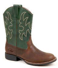 Roper Kids Boys Western Brown Faux Leather Round Toe Comfort Cowboy Boots