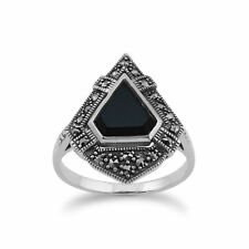 Gemondo Sterling Silver Black Onyx & Marcasite Art Deco Style Ring
