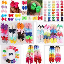 NEW Bow Hair Clip Tie Bobble Elastic Band Girl Ribbon Kids Sides Accessories LOT
