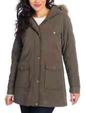 NEW - KC Collections Microfiber Faux Fur Lined Hooded Anorak Jacket - OLIVE