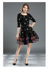 Spring New Design Women Embroidery Flower Printed Half Sleeve Dress