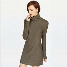Fashio Leisure Long Sleeve Turtle Neck Knitted Long Dress For Women