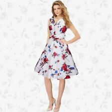 Women Floral Print Sleeveless Vintage Casual Formal Party Dress