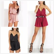 New Casual Deep V neck Summer Womens Satin Bodycon sleeveless jumpsuits Rompers