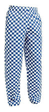 Mens Chef Trousers 100% Cotton Blue & White Check Pants Restaurant Catering Food