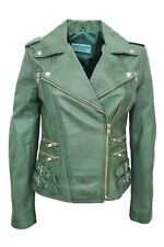 DESTINY Ladies DARK GREEN Biker Fitted Vintage Real Soft Nappa Leather Jacket