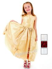 Girls Fabulous Gold Occassion Dress Wedding Christening (2-3yrs-9-10yrs)