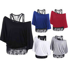 Womens Long Sleeve Shirt Tops Loose Blouse Ladies Lace Casual Bat Tops Plus Size