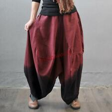 Womens Loose Casual Oversize Linen Blend Wide leg Bloomers Harem Trousers Pants