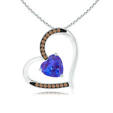 """Tanzanite Tilted Heart Pendant Necklace with Coffee Diamonds 14k gold 18"""" Chain"""