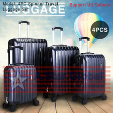 4PC Spinner Travel Luggage Set Bag ABS Trolley Carry On Suitcase TSA Lock Black