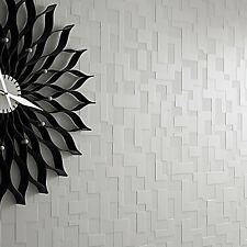 Mosaic Tile Checkered Feature 3D Geometric Effect Abstract Wallpaper Black/White