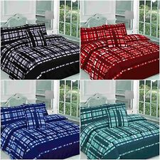 FINLEY CHECKED BED IN A BAG DUVET COVER BEDDING SET SINGLE DOUBLE KING SUPERKING