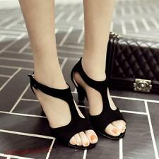Womens Faux suede Open toe Block high heel T-strap Casual Sandals Plus Size new