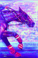 HORSE PRINT Giclee Polo Art BREAKAWAY by artist BETS 5 COLORS print size 14 X 19
