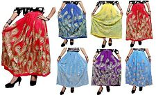 A Ethnic Hippie Boho Gypsy Embroidered UK Sequin Work Rayon Long Skirt