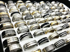 wholesale 25/50/100pcs mix silver gold black men's fashion stainless steel rings