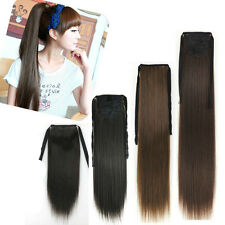 Ribbon Ponytail 100% Human Hair Extensions Wrap-On Pony Tail Hair Extensions