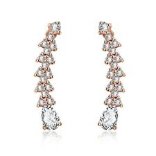 18K Rose Gold Filled Luxury Swarovski Crystal Wedding Zircon Stud Drop Earring
