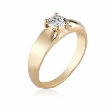 Engagement Ring Diamond 0.74 CT F VS1 Solitaire 14K Yellow Gold Size 6 Enhanced