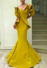NWT Fouad Sarkis for MNM Structured Strapless Mustard Ruffle Gown