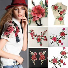 Embroidered Floral Rose Flower Applique Badge Collar Sew Patch Bust Dress CHI