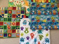Taggy Blanket Comfort Gift Pram Blankets Baby Shower Gift Animals Monkeys Aliens