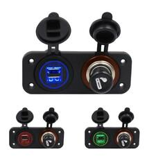 LED Dual USB Charger+Cigarette Lighter Socket With Butt for Car Boat