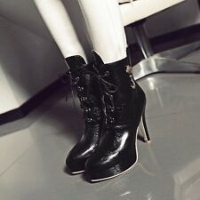 Womens Leather Lace Ups High Stiletto Heels Platforms Ankle Boots Shoes New!!!