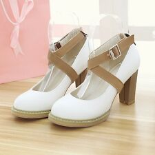 Fashion Womens Synthetic Leather High Block Heels Platforms Strappy Casual Shoes
