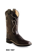 Old West Dk Brown Youth Boys Leather Square Toe Cowboy Western Boots