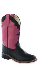 Old West Hot Pink Youth Girls Carona Leather Square Toe Cowboy Boots