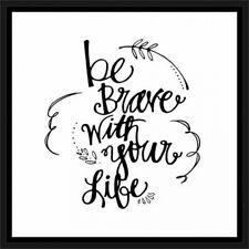 Be Brave Hand Drawn Doodle Inspirational Typography Black & White, Framed Canvas