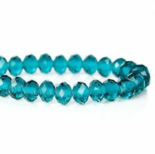 Peacock Blue 8mm Faceted Crystal Teal Glass Beads G9534 - 50, 100 or 200PCs