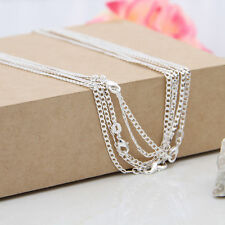 Wholesale 8 Size 925 Silver Plated 2MM Curb Chains Necklace for Jewelry Pendants