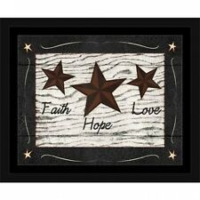 Faith, Hope, Love Primitive Star Folk Americana Wood Grain Inspirational Paintin