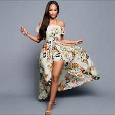 Fashion Women Bohemia Boho Off Shoulder Long Dress Floral Bodycon Maxi Dress