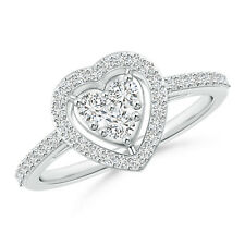 Natural H SI2 Round Cut Diamond Love Heart Promise Ring in 14k Gold / Platinum