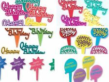Happy Birthday Assortment Cupcake Picks Cake Toppers Appetizer Decorations