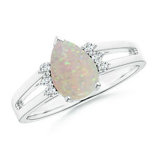 Solitaire Pear Opal Ring With Triple Diamond Accents 14k White Gold / Platinum