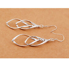 Fashion Women Silver Plated Hoop Dangle Stud Earrings Jewelry Spiral Eardrop