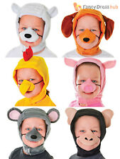 Animal Hood & Nose Set Childs Farmyard Fancy Dress Accessories Book Week Costume