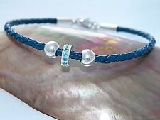 3 mm Blue Bolo Braided Leather Cord Bracelet .925Sterling Silver Blue CZ Bead