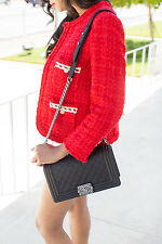 ZARA red tweed blazer jacket sold out bloggers new ref 2772/785 Large L UK 12