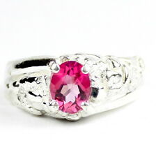 Created Pink Sapphire, 925 Sterling Silver Men's Ring, SR368