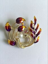 Fashion peacock cloisonné brooch with crystal pearl feather design bird clip
